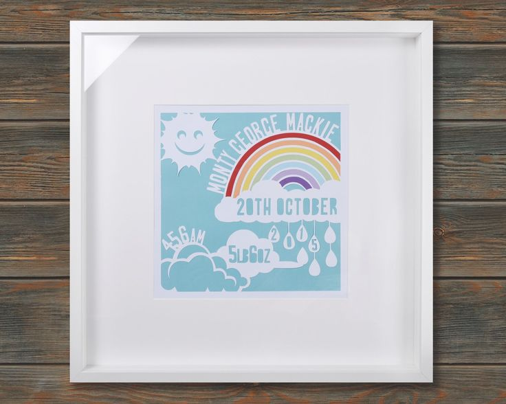 Rainbow - New Baby Birth Announcement - Framed personalised paper cut art (Large 52x52cm) by wallaceimagery on Etsy https://www.etsy.com/uk/listing/384554912/rainbow-new-baby-birth-announcement