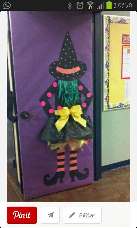 Decoraci 243 N Puerta Halloween Halloween Pinterest