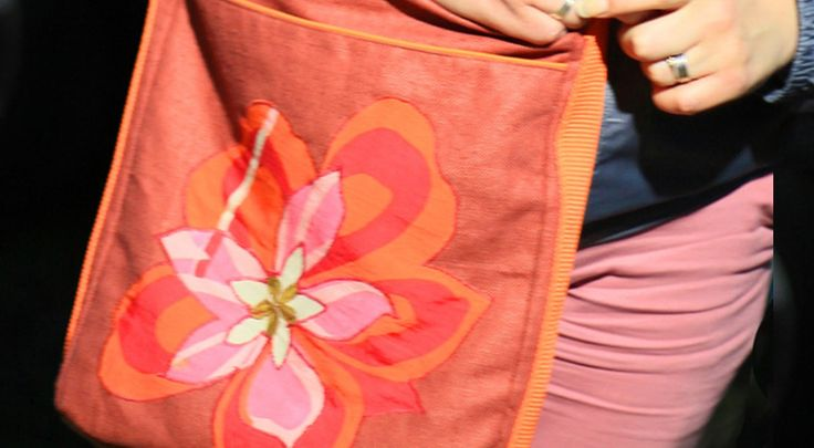 casual bag ROSE ORANGE FLOWER, face side, emroidered