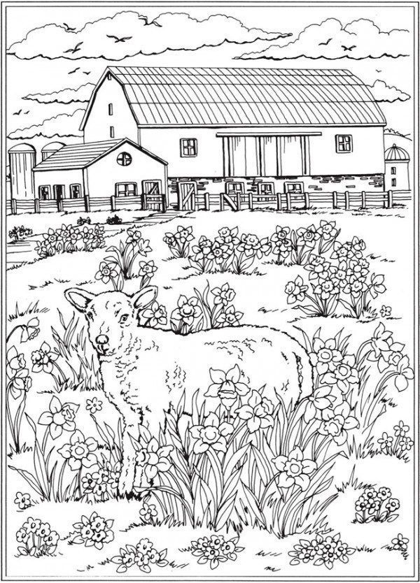 7 Spring Scene Coloring Pages Spring Coloring Pages Farm