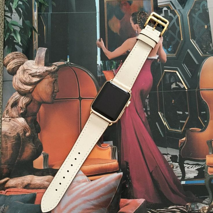 Ivoryhand-stitched Apple watch leather band with OPTION for silver, gold, rose gold, space gray or black hardware. This band has matching ivory stitching. This