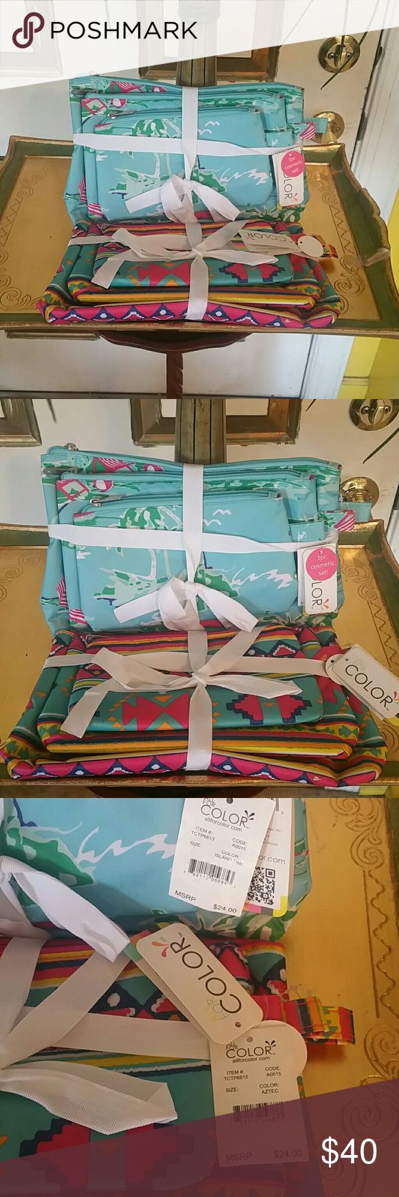 """All For Color 3 Piece Cosmetic Bag Set Bundle Look no further for the ultimate cosmetic bag set. Get this not 1, not 2, but 3 yes 3 cases! Small 7.75"""" x.4.5, Med 9"""" x 6"""" and LG 11.25"""" x 7"""". These are new with tags and they would make great Christmas gifts. See pic 4 for a small spot at the top of the blue set. Nothing that will mess it up. They are made of 100% polyester.  They sell for 24.00 per set. See bundle price below. Price is firm. All For Color Bags Cosmetic Bags & Cases"""