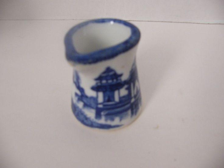 Vintage Blue & White Oriental design  1 oz  Individual Creamer  Restaurant Ware #Unknown