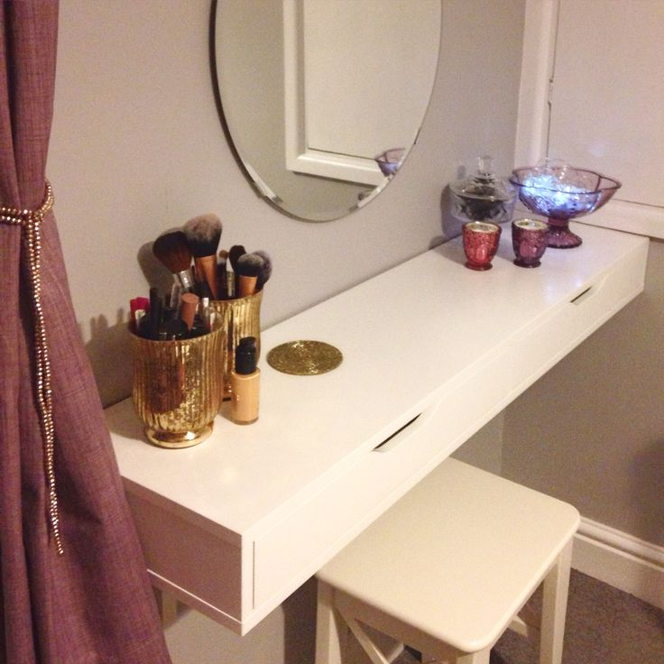 dressing table using ikea ekby alex shelving unit and mirror home pinterest dressing. Black Bedroom Furniture Sets. Home Design Ideas