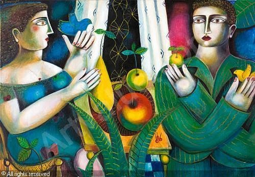 Couple with fruits and birds