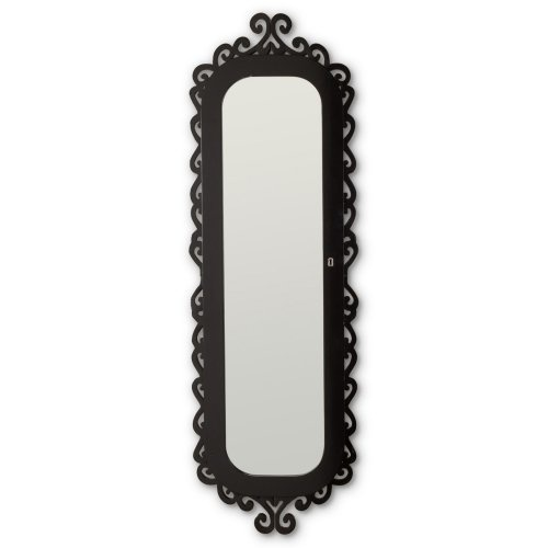 NEED THIS! Find it at the Foundary - Wall Scroll Locking Jewelry Armoire - High Gloss Black