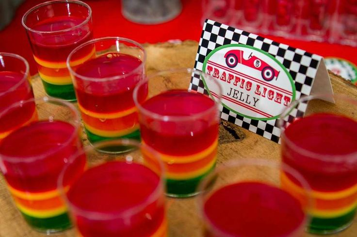 Traffic light jello at a race car birthday party! See more party ideas at CatchMyParty.com!