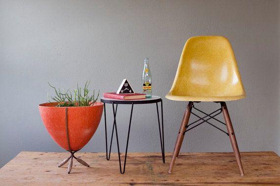 Vintage Sunshine Yellow Eames DSW for Herman Miller Dowel Leg Side Chair