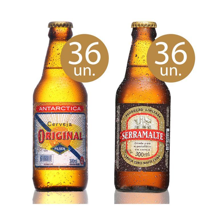 Outras [Empório da Cerveja] Kit Boteco - 36 Original 300 ml // 36 Serramalte Extra 300 ml - R$238,72
