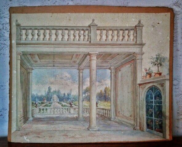 Bozzetto architettonico a guache. #bozzetto #architettura #guache #disegno #terrazze #visioni #colonne #colori #antico #arsebalepiu #wunderkammer