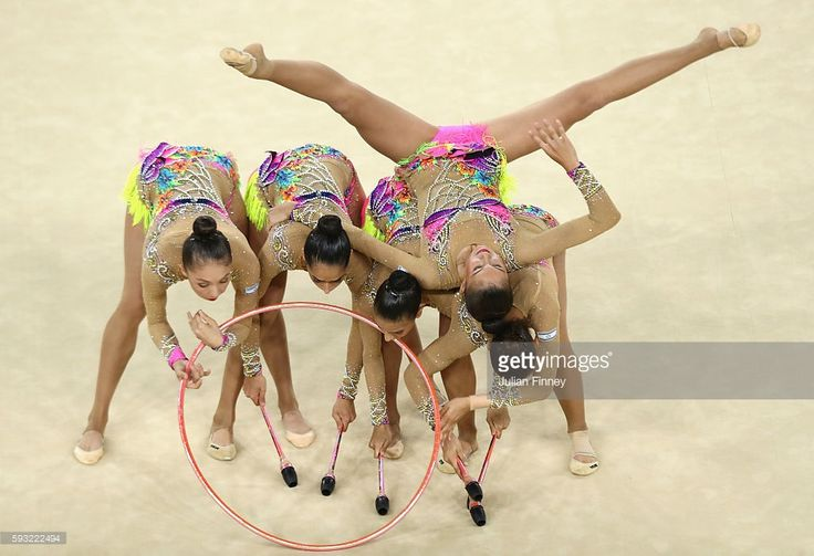 Yuval Filo, Alona Koshevatskiy, Ekaterina Levina, Karina Lykhvar and Ida Mayrin of Israel compete during the Group All-Around Final on Day 16 of the Rio 2016 Olympic Games at Rio Olympic Arena on August 21, 2016 in Rio de Janeiro, Brazil.