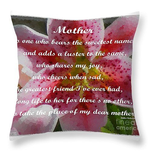 """Mother's Day Greeting  Throw Pillow 14"""" x 14"""""""