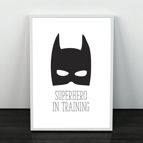 BW SUPER HERO PRINT  Super hero in training  Perfect for a little super heroes room. This black and white superhero mask print will work in with any