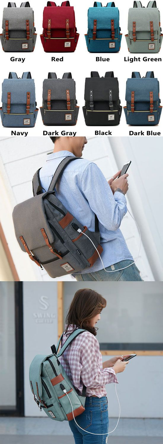 Fashion Large Thick Canvas Girl's College Bag Double Belt USB Interface School Backpack for big sale! #backpack #Bag #school #college #canvas