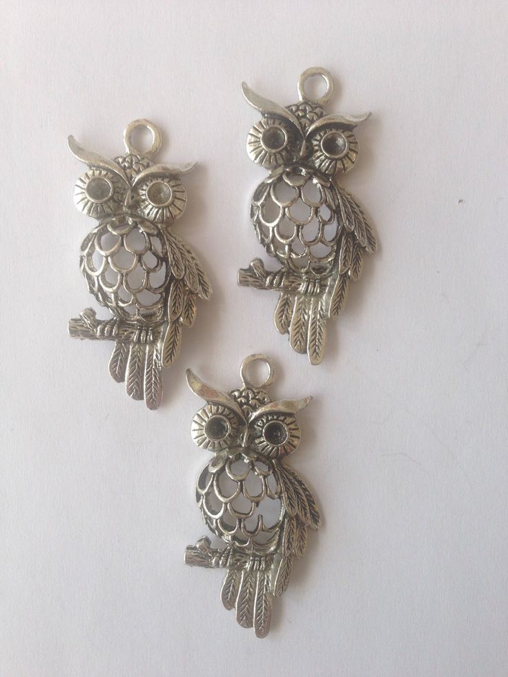 Antique Silver Owl charm Pendant for jewellery making by FionasHobbyHut on Etsy