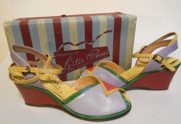 WW2 1940s Multi-Coloured Wedge Sandal