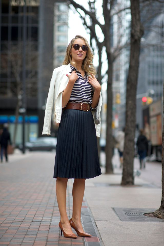 striped blouse with skirt and blazer