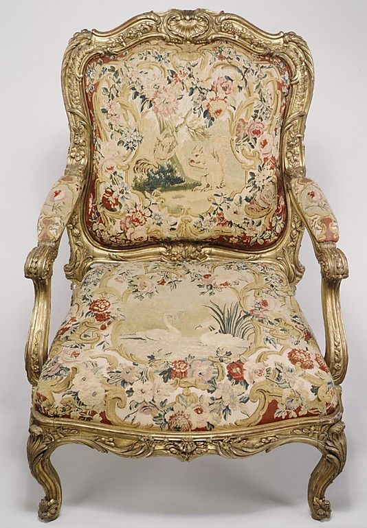 French Gilt-wood Armchair upholstered in tapestry w/ figural motifs of a pair of Squirrels and a pair of Swans