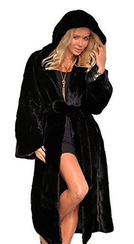 18664d0ba24a Vlunt Femmes Longue Manteau à Capuche de Fausse Fourrure Doux Imitation  Fourrure Cardigan Décontractée Fourrure Synthetique