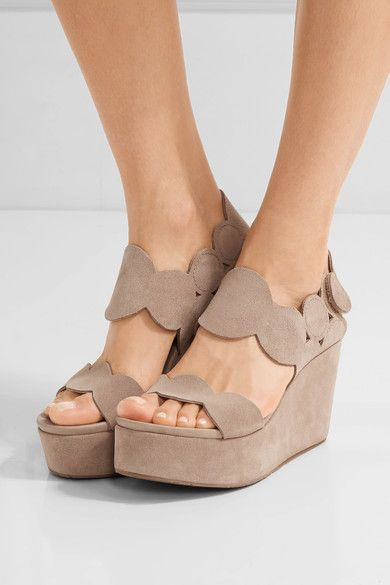 Wedge heel measures approximately 95mm/ 4 inches Beige suede  Velcro®-fastening slingback strap Made in SpainSmall to size. See Size & Fit notes.