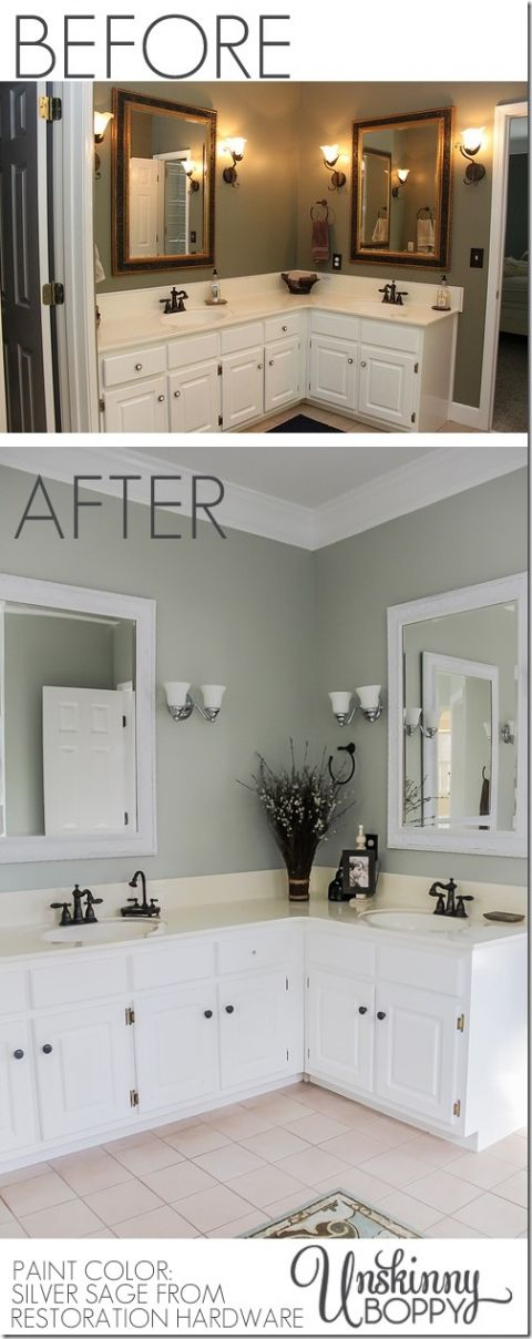 Master Bathroom Makeover Before After Paint Color Silver Sage By Restoration Hardware