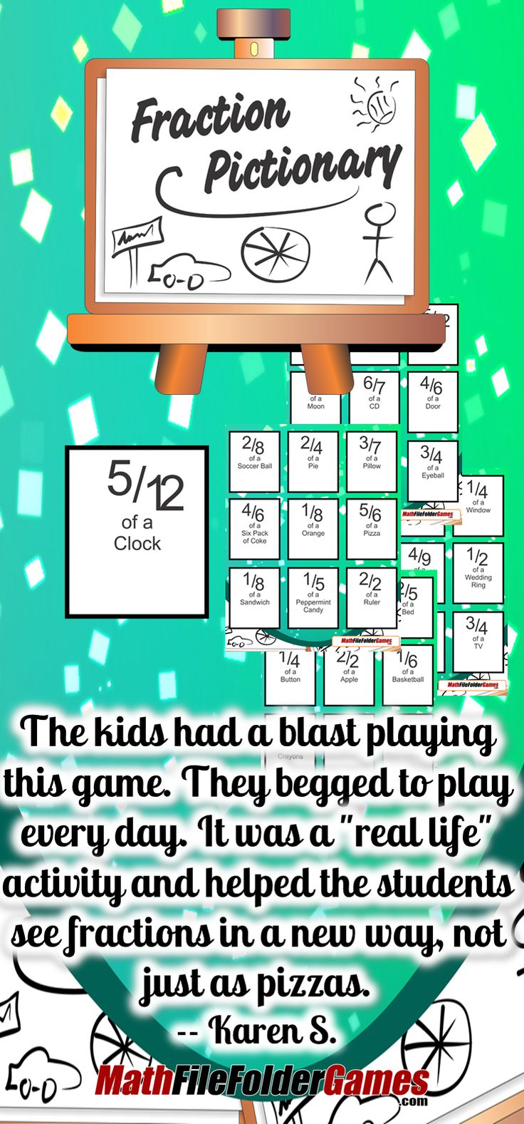 "#Fraction Pictionary: Recognizing Fractions with Drawing {Fraction Game} http://www.teacherspayteachers.com/Product/Fraction-Pictionary-Recognizing-Fractions-with-Drawing-Fraction-Game-1075575  ""The kids had a blast playing this game. They begged to play every day. It was a ""real life"" activity and helped the students see fractions in a new way, not just as pizzas."" Karen S. #math"
