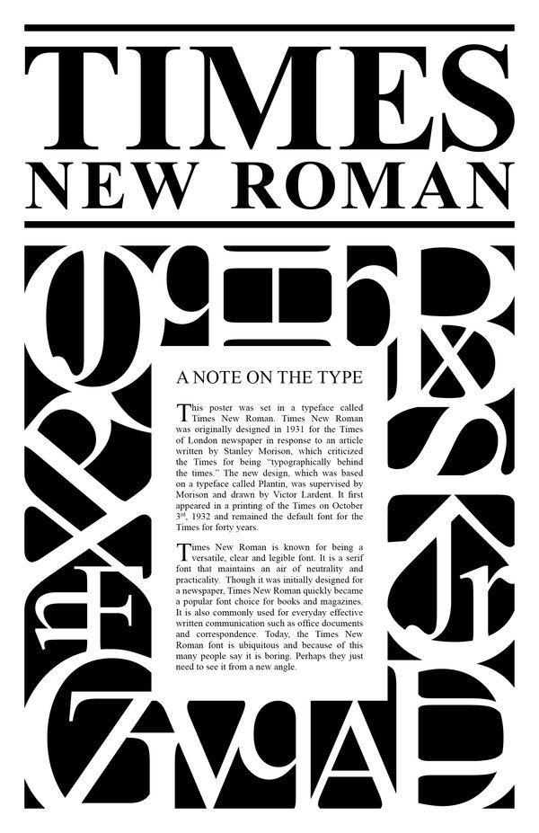 Times New Roman Type Poster by Jennifer Mead, via Behance