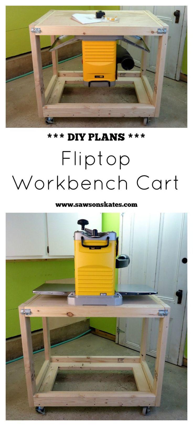 DIY Fliptop Workbench Cart made with 2x4s - free plans at www.sawsonskates.com