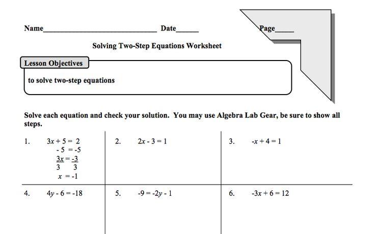Printables Two Step Equations Worksheet two step equations worksheet hypeelite