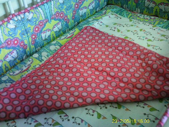 Custom Regular Crib Blanket / Coverlet with Piping by AngelsWings