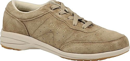 Propet Shoes - Yes this suede leather walking shoe is 100-percent machine washable. As a bonus Propet also gives it a stylish look and full padding for your comfort. - #propetshoes #taupeshoes