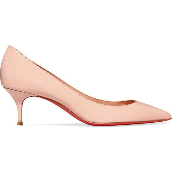 Christian Louboutin Pigalle Follies 55 patent-leather pumps ($610) ❤ liked on Polyvore featuring shoes, pumps, pastel pink, kitten heel pumps, polish shoes, patent leather pumps, patent leather shoes and pink patent leather pumps
