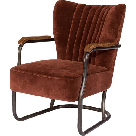 Dark Metal Finish, Blue Velvet Cover Combine Nicely With Natural Wood Tone  On The Arms. Velvet Fabric Oak Metal X X Seat Arm Brown Velvet