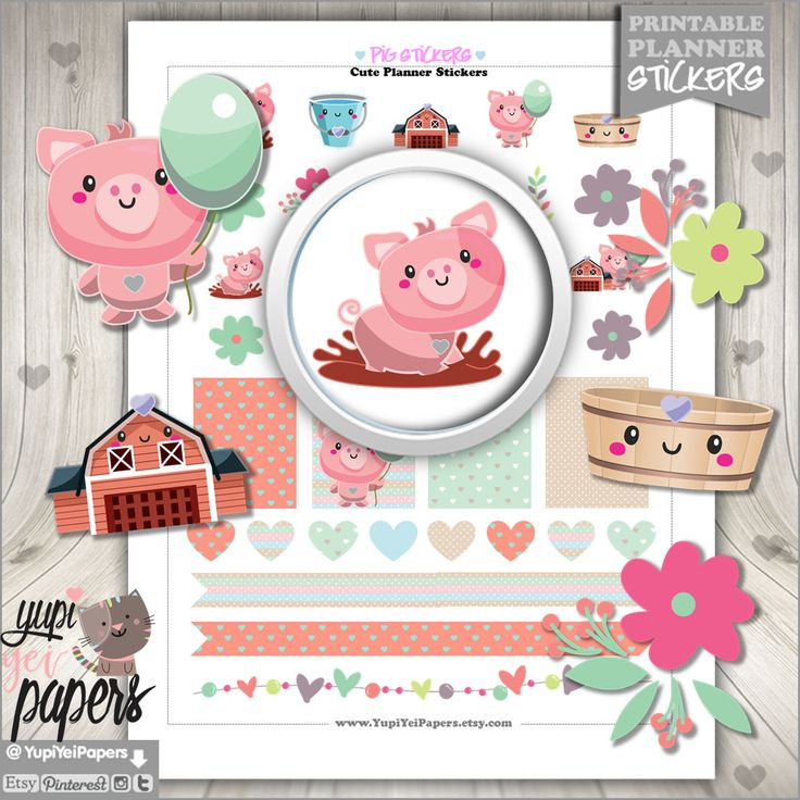 50%OFF - Pig Stickers, Planner Stickers, Printable Planner Stickers, Planner Accessories, Animal Stickers, Piggy Stickers, Pigglet