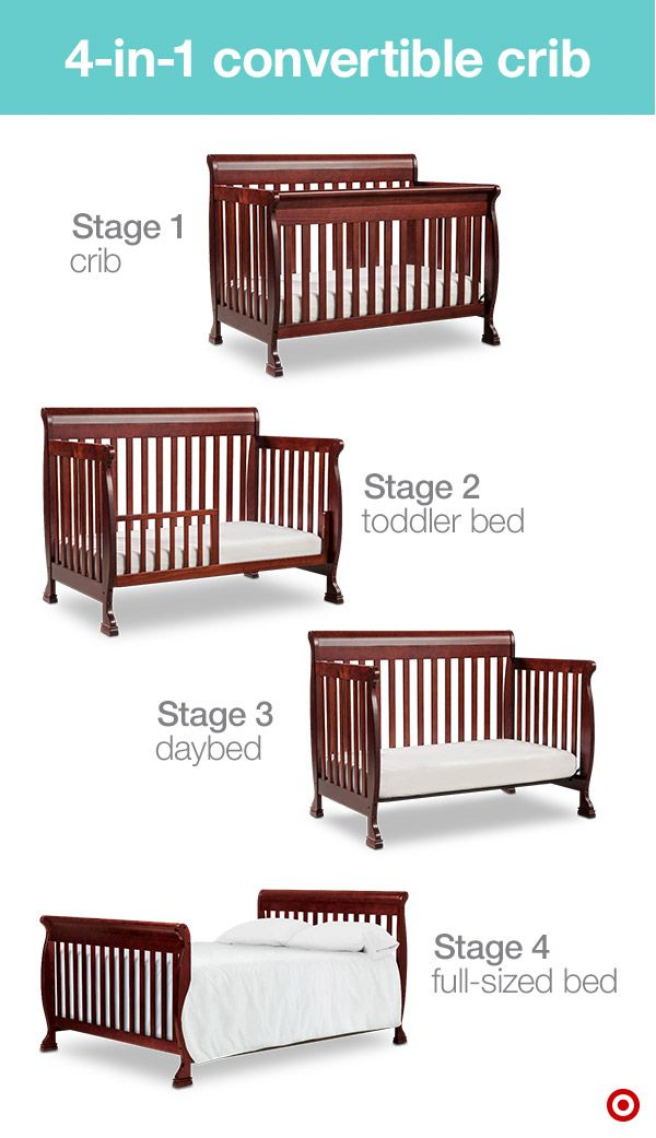 Preparing for Baby's arrival can be overwhelming. Find ways to make checking off your list a little easier by adding stage-based products to your Target Baby Registry. A convertible crib can have up to four stages that transition as your child grows. The 4-in-1 DiVinci Crib expands from a crib to a toddler bed to a daybed to a full-sized bed (perfect for your teenager)! These grow-with-me pieces not only last a long time, they're also nice on the budget.