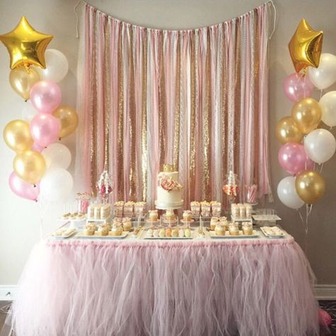 Pink & Gold Garland Backdrop – birthday, baby shower, wedding … Fabric, Sequin and Lace