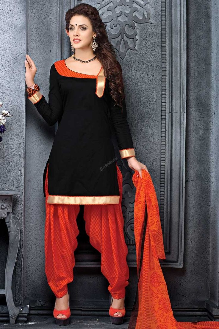 Black Cotton Patiala Salwar Suit with Chiffon Dupatta Andaaz Fashion Malaysia Presents Black cotton, printed print, semi stictch patiala suit. Sweetheart neck, Above knee length, full sleeves kameez. Orange cotton patiala salwar. Orange chiffon dupatta with lace border with work. http://www.andaazfashion.com.my/black-cotton-patiala-salwar-suit-with-chiffon-dupatta.html