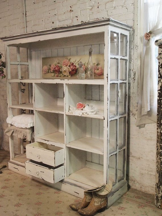 Handmade bookcase distressed paint finish on a bookcase for Ameublement shabby chic