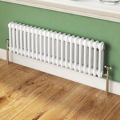 Traditional White Victorian Designer Horizontal Column Radiator 300 x 988 mm | eBay