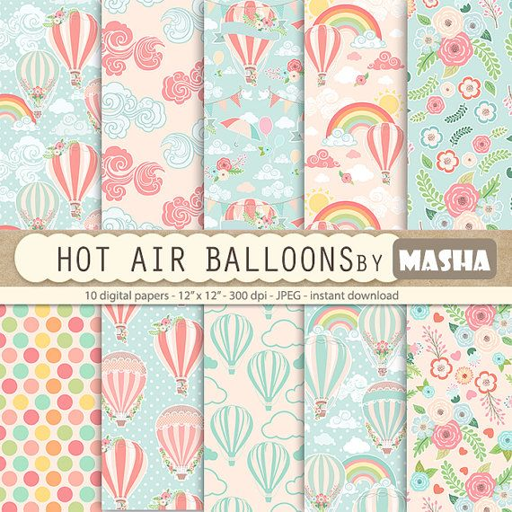 Balloon digital paper: HOT AIR BALLOONS digital by MashaStudio