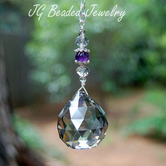 Silver Shade and Amethyst Hanging Crystal  #suncatchers #amethyst #crystals