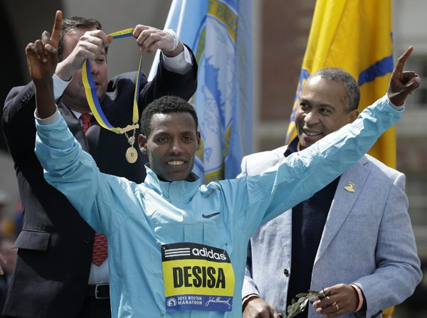 Oromo Athlete Lesisa Desisa BOSTON (AP) -- The champion of the men's 2013 Boston Marathon returned his winner's medal to Mayor Thomas Menino on Sunday to honor the city and those killed and injured in the bombings near the finish line of one of the world's top running events. ''Sport holds the power to unify and connect people all over the world,'' Lelisa Desisa of Ethiopia told the crowd through a translator. ''Sport should never be used as a battleground.'' (June 23, 2013)