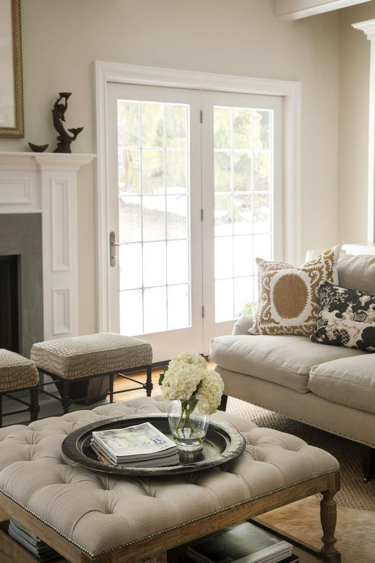 10 Clever Coffee Table Alternatives: love this timeless traditional living room rendered in seasonless neutrals.