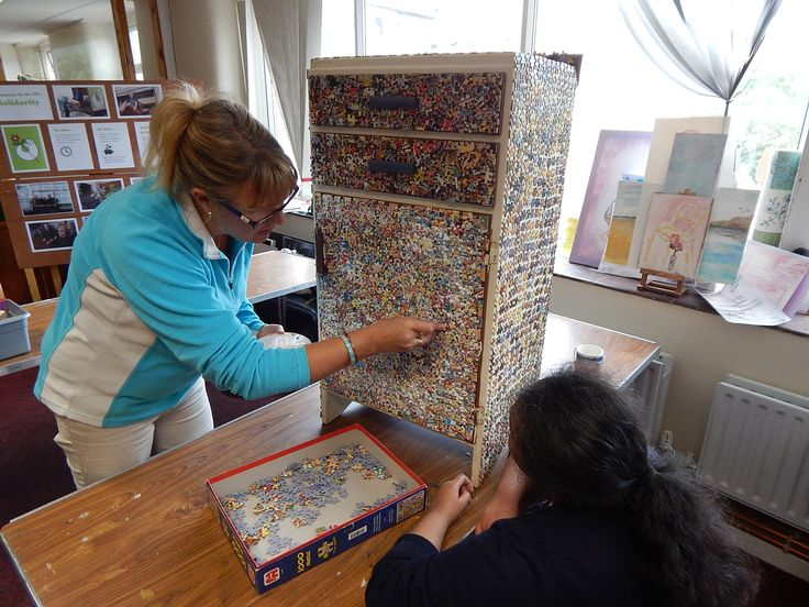 Our volunteer Upcycling Group have employed their crafty talents to make the most of the hundreds of donated jigsaws we receive each year. They have used individual jigsaw pieces to create unique items of decorated furniture and picture frames.
