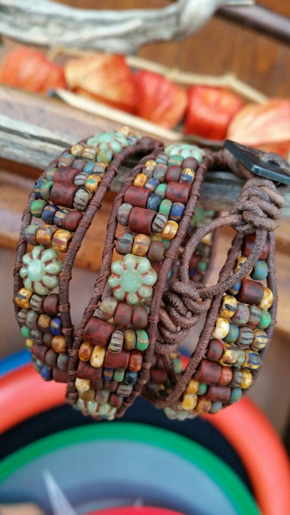 Triple wrap leather bracelet. Hand loomed by offbeadinpathneosho
