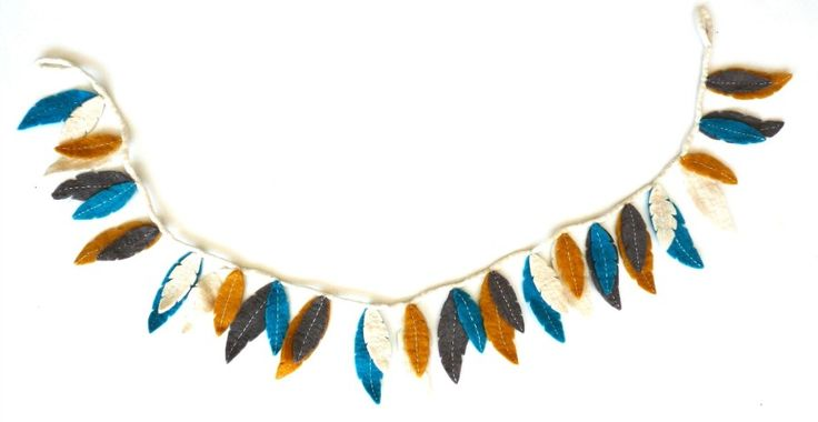 Happy as Larry-Wall Decor-Felt Feather Garlands {Blue, Mustard, Grey}
