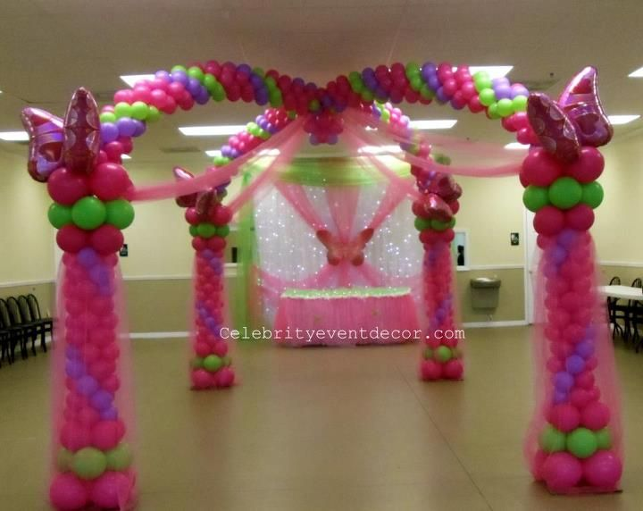 Princess balloon arch balloon art pinterest for Balloon decoration arches