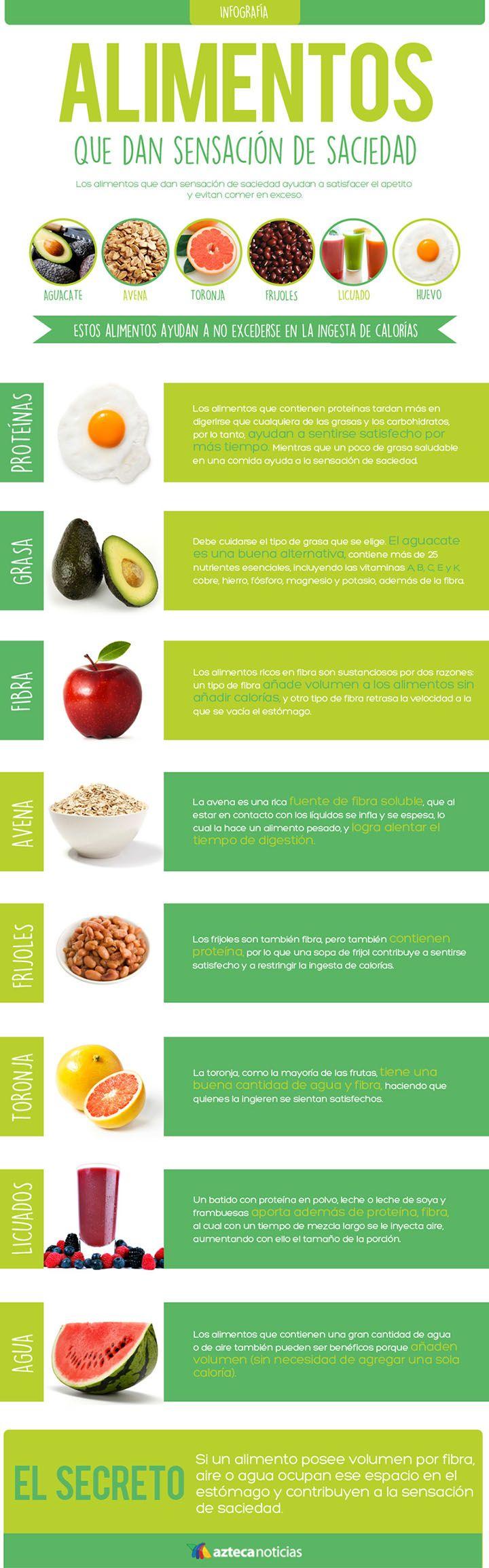8 alimentos saciantes para perder peso. #infografia #perderpeso