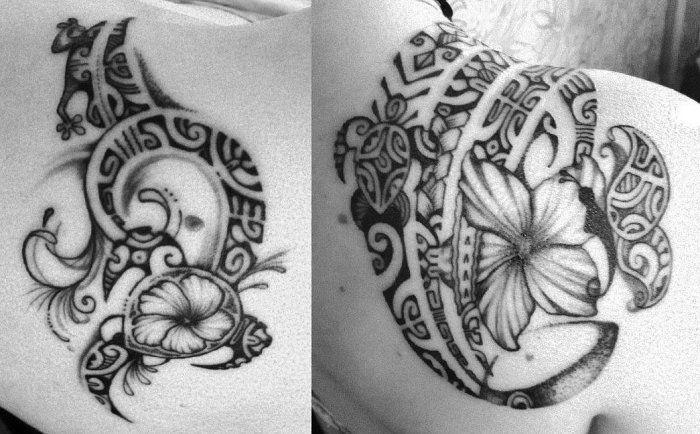 Tatouages fleurs hibiscus sur l'omoplate femme style polynésien réalisés par Mana Maori Tatau                                                                                                                                                      Plus