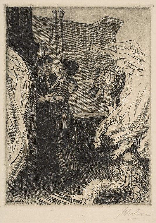 "John Sloan (American, 1871–1951) ""Love on the Roof"", 1914 ~ The Metropolitan Museum of Art, New York."